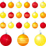 yellow för orange red för baubles Arkivfoton