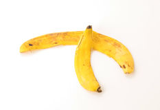 yellow för peel för bakgrundsbanan frukt isolerad vit Royaltyfri Bild