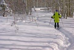 yellow för snow för fotvandrareanoraksko Fotografering för Bildbyråer