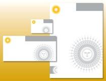 yellow för sun för företags identitetslogo set Arkivbild