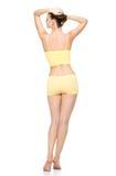 yellow för underkläder för härlig huvuddelkvinnlig sportig Arkivbild