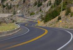 yellow för väg för asfalthuvudväglane Arkivfoto