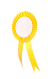 Yellow fabric award ribbon isolated on white Stock Images