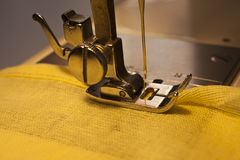 Fabric and sewing machine Royalty Free Stock Photo