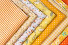 Yellow fabric for patchwork Royalty Free Stock Image