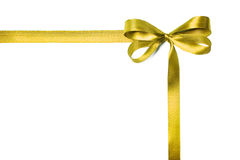 Yellow fabric ribbon and bow isolated on a white background Royalty Free Stock Photography