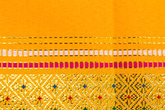 Yellow fabric silk thai Stock Image