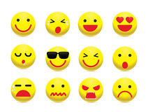 Yellow Face Emotion Icon Set Stock Images