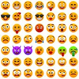 Yellow face emotions. Facial expression. Vector illustration. Funny cartoon character.Emoji,emoticons set. Mood. Web icon. Yellow face emotions. Facial stock illustration
