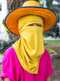 Yellow face veil Stock Photo