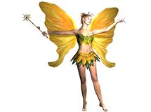 Yellow Fairy with Magic Wand. A female fairy with yellow wings and a magic wand Royalty Free Stock Photos