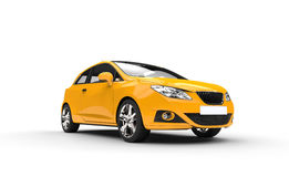 Yellow Family Car - Front View Stock Photo