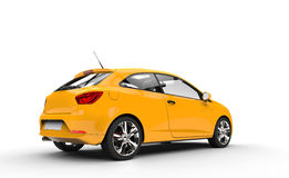 Yellow Family Car - Rear View Royalty Free Stock Photo