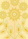 Yellow fantasy flower on light yellow background, line art illustration, template for poster, invitation, congratulation Stock Photos