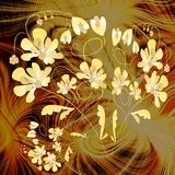 Yellow fantasy flowers on fractal background Stock Images