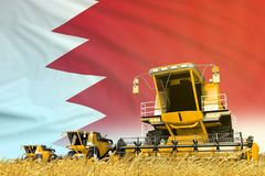 Yellow farm agricultural combine harvester on field with Bahrain flag background, food industry concept - industrial 3D