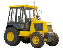 Yellow farm tractor stock photo
