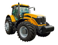 Yellow farm tractor. On a white background stock photos