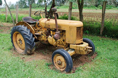 Yellow farm tractor Royalty Free Stock Image
