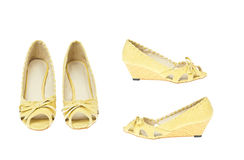 Yellow fashion shoes, Platform model Royalty Free Stock Photo
