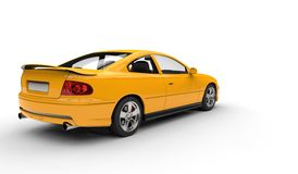 Yellow Fast Car - Rear View Stock Images