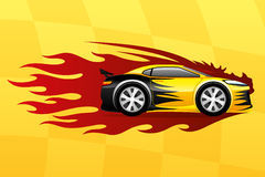 Yellow fast car. Fast car and red flame on a yellow background Stock Photography