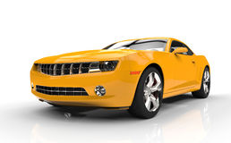 Yellow Fast Car Stock Photography