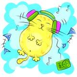 Yellow fat cat listening to music on headphones. Vector cartoon illustration Stock Image