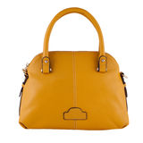 Yellow  female leather bag isolated on white background Stock Images