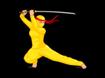 Yellow female ninja Royalty Free Stock Images
