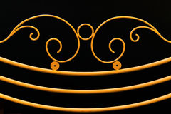 Yellow fence ornamental elements on black backgrou Royalty Free Stock Photography