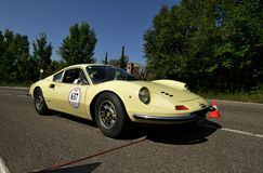Yellow Ferrari Dino 246 GT Stock Photography