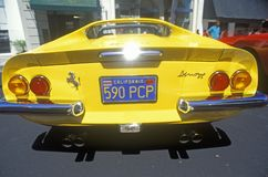 A yellow Ferrari at the Ferrari Sports Car Festival in Beverly Hills, California Royalty Free Stock Photography