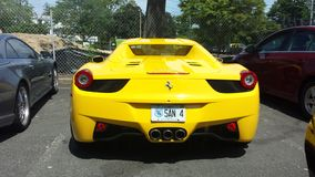 Yellow Ferrari stock photos