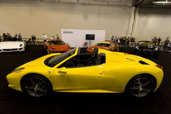 Yellow Ferrari Spider Royalty Free Stock Photography