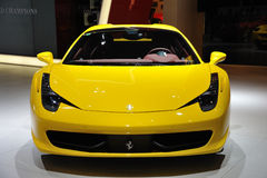 Yellow Ferrari 458 spider Stock Images