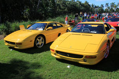 Yellow Ferrari sports car lineup at outdoors event Royalty Free Stock Photography