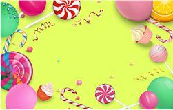 Yellow festive background with colorful lollipops. Yellow festive background with bright colorful lollipops, balloons and serpentine. Vector illustration.r Royalty Free Stock Images