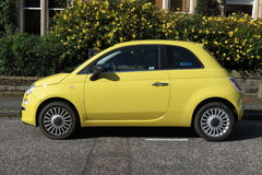 Yellow FIAT 500 car (new model) Stock Images
