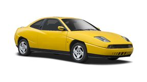 Yellow Fiat coupe isolated Royalty Free Stock Photography