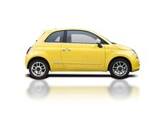 Yellow fiat 500 new. Yellow pick-up truck isolated on white Stock Image