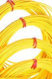 Yellow fiber optic cables Stock Image