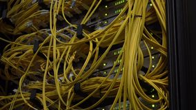 Video contains noise. Yellow Fiber Optical Cables close up on Datacenter. Telecommunication Broadband. Blink Green Led