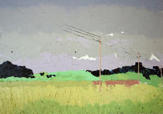Yellow fields landscape. Plain air painting. Oil on canvas. Andreas Guskos 2005 Stock Images