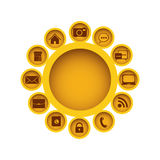Yellow figure group with communication elements Stock Photo