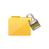 Yellow file and close lock icon. Illustraction design Royalty Free Stock Photography