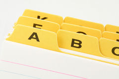 Yellow file divider Stock Images
