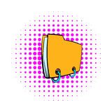 Yellow file folder icon, comics style. Yellow file folder icon in comics style on a white background Stock Photography