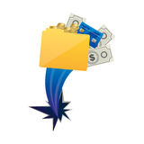 Yellow file with money and hole icon. Illustraction design Royalty Free Illustration