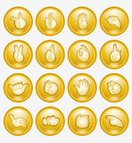 Yellow finger button arm icon Stock Photo
